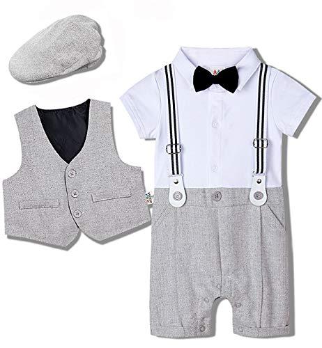 mintgreen Baby Jungen Bekleidungssets Taufkleidung Anzug Set Fliege Hemd, Hell Grau, 12-18 Monate (Herstellergröße : 90)
