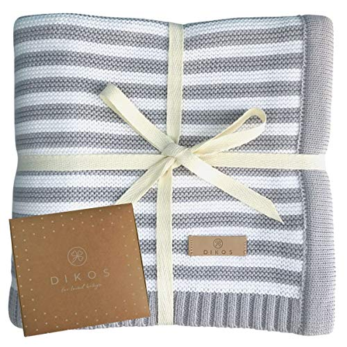 Babydecke aus * 100% * GOTS BIO Baumwolle grau/weiß für Junge Mädchen Strickdecke Baby Decke Baumwolldecke Strick Wolle Kinderwagen Kuscheldecke Erstlingsdecke Wolldecke Geschenk Geburt kuschelig