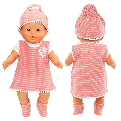 Miunana Vestido Imprimir Raya para 14 - 18 Pulgada Muñeca Bebé 36 - 46 cm (NO Incluye MUÑECA)