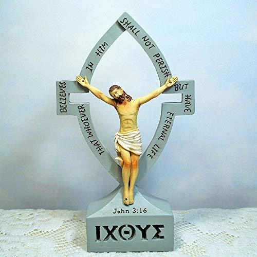 Inveroo Estatua De Resina De Crucifijo Cristiano De Dios Escultura De