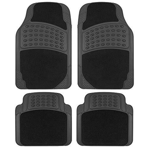 BDK HybridMat Automotive Rubber & Carpet Floor Mats, Universal Front & Rear Seat...