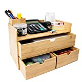 Bamboo Desk Organizer - Mini Bamboo Desk Drawer Tabletop Cosmetic Storage Organization for Office or Home (3 Drawer with edge)