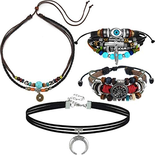 Bohemian Leather Necklace Bohemian Jewelry Set Crescent Choker Leather Necklace Beaded Multilayer product image