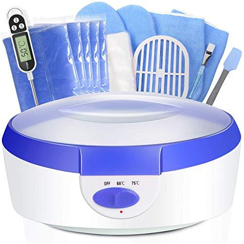 Paraffin Wax for Hands and Feet - Paraffin Wax Warmer Blue 2500ml Quick Heating Ejiubas Paraffin Wax Machine Moisturizing Kit with Paraffin Wax Refill Thermal Mitts Gloves Silicone Brush Paraffin Bath