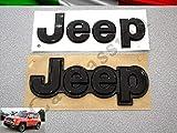 Coppia Scritta Stemma Logo Jeep Renegade Anteriore Posteriore Originale Nero Lucido