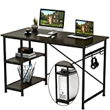 Engriy Writing Computer Desk 47', Home Office Study Desk with 2 Storage Shelves on Left or Right Side, Modern Simple Style Wood Table Metal Frame for PC Laptop Notebook
