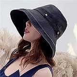 Sombrero De Playa para Nuevas Mujeres Verano De ala Ancha Algodón Lino Sombrero para El Sol Moda Casual Color Sólido Sombrero para El Sol Sombreros De Playa Anti-UV para Mujer