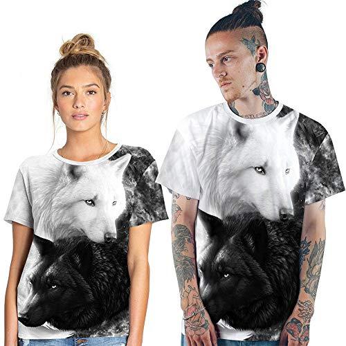 YYQX Conainer heren 3D Graphic Print T-shirts wit en zwart knuffelig dubbel T-shirt wolf T-shirt 3DT mannen korte mouwen ronde hals digitale print casual korte mouwen
