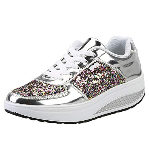 Zapatos de Plataforma para Mujer con Cordones Diarios, Suela Gruesa, Lentejuelas portátiles, Zapatillas de Deporte Transpirables de Moda, Creepers, Zapatos para Caminar Diarios