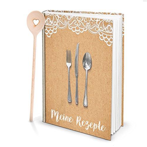 Geschenk-SET XXL Rezeptbuch SPITZE vintage shabby zum Selberschreiben Mein Kochbuch + HERZ KOCHLÖFFEL - Küche Kochen DIY Hochzeit Weihnachten Geburtstag
