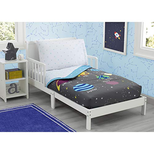 Delta Children Toddler Bedding Set | Boys 4 Piece Collection | Fitted Sheet, Flat Top Sheet w/Elastic Bottom, Fitted Comforter w/Elastic Bottom, Pillowcase, Galaxy Outer Space| Grey/Multi