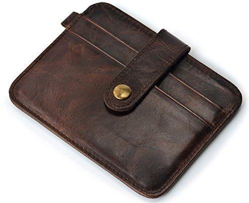 URAQT - Custodia a Portafoglio in Vera Pelle con Tasca Frontale Porta Carte di Credito e Tasche per Carte di Credito, Chcolat