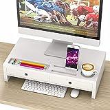 Monitor Stand Riser with Drawer - White Wood Computer Desk Organizer Storage 20.50L 10.60W 4.80H Inch