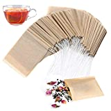 "Tea Filter Bags for Loose Tea - 1-Cup Capacity, Disposable Tea Infuser Drawstring Empty Bag by Angooni (3.15"" x 3.94"") - 100 PCS"