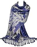 GFM® Écharpe de style pashmina, motif plumes de pao (PCKPASH-P49)