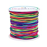 Dreamtop 1mm 100 Meters Rainbow Elastic Cord Colorful Bead Stretch String Pony Bead String Rainbow Elastic Thread Beading Thread for Bracelets, Necklace, Jewelry Making and Crafts,109 Yard