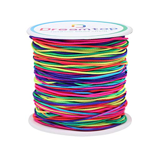 Dreamtop 100m Rainbow Color Elastic Cord Beading Thread Stretch String Craft Cord Pony Bead String, 1mm
