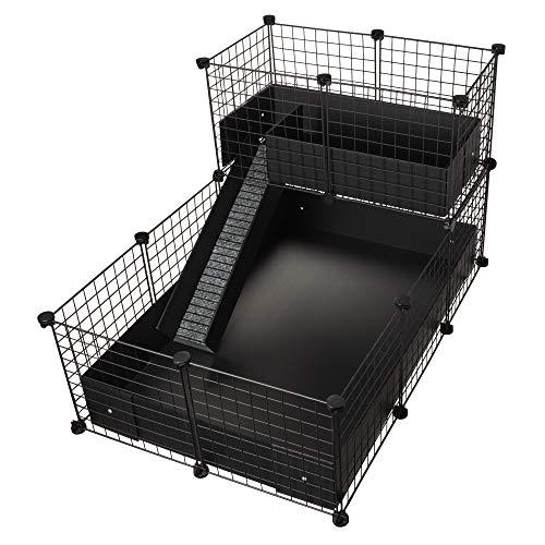 CagesCubes - Gabbia CyC Deluxe (base 2 x 3 + loft 2 x 1 - pannello nero) + base in Coroplast in nero per...