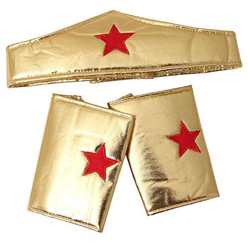 Girls Gold Wonderful Superhero Costume Cuffs and Headband Set