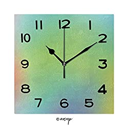 SUPFENG Frameless Decorative Clock Abstract Colourful Background 8 Inch Square Wall Clock for Living Room Bedroom Office Hotel No-48317