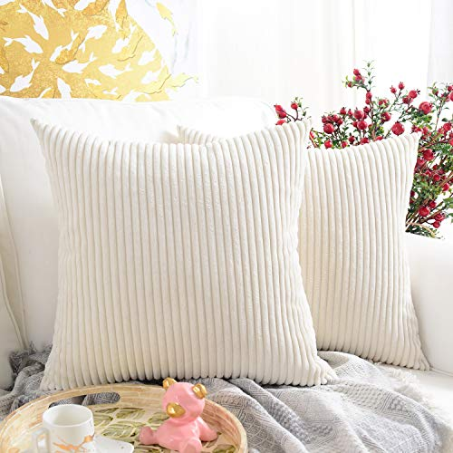 MERNETTE Pack of 2, Corduroy Soft Decorative Square Throw Pillow Cover Cushion Covers Pillowcase, Home Decor Decorations For Sofa Couch Bed Chair 18x18 Inch/45x45 cm (Striped Cream)