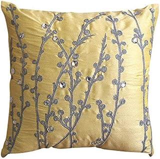 Jaune Oreillers Décoratifs Couvercle, Willow Conception Couverture D'Oreillers, 45x45 cm Housses De Coussin, Soie Taies D'...