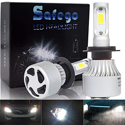 Safego Bombilla H7 LED Coche, 2x 72W 8000LM H7 LED Faros Delanteros Bombillas, Faros Reemplazo de Halógena y Kit Xenón H7, Lámpara Luz 6500K Blanca 12V-24V, Garantía de 1 años