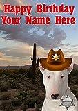 Tarjeta de felicitación de cumpleaños tamaño A5 personalizable con diseño de perro Bull Terrier J693 de vaquero Sheriff
