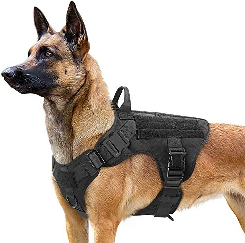 rabbitgoo Tactical Dog Harness for Large Dogs, Military Dog Harness with Handle, No-Pull Service Dog Vest with Molle & Loop Panels, Adjustable Dog Vest Harness for Training Hunting Walking, Black, XL