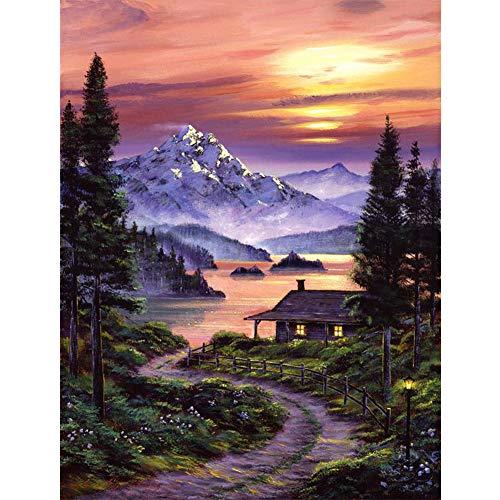 DIY 5D Diamond Painting by Numbers Kits, Mountain Lake Trees Cabin, Full Drill Rhinestones Paint with Diamonds Crystal Diamond Art (Cabin)