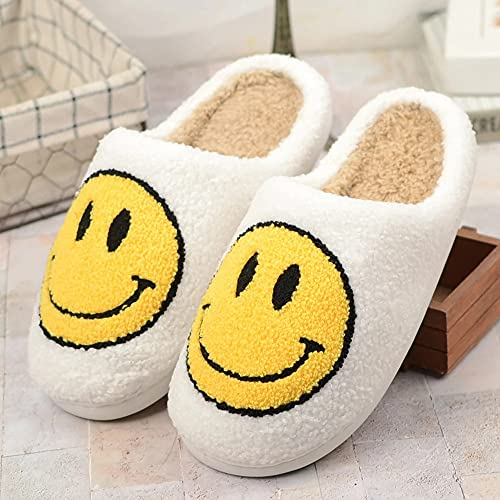 DSXH Smiley Face Slippers, Women s Retro Smiley Face Soft Plush Comfy Warm Slip-on Slippers, Slipper Scuff Slip on Anti-Skid Sole (White, 42-43)