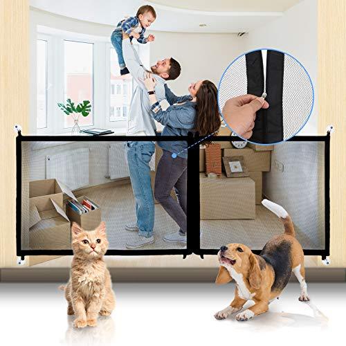 CAMTOA Pet Gate Magic Gate for Dogs, Mesh Dog Gate Portable Safety Gate Zipper Design Adjustable 3 Sizes 82.6'/47.2'/35.4' Indoor Pet Gates for Stair,Doorways,Hallways