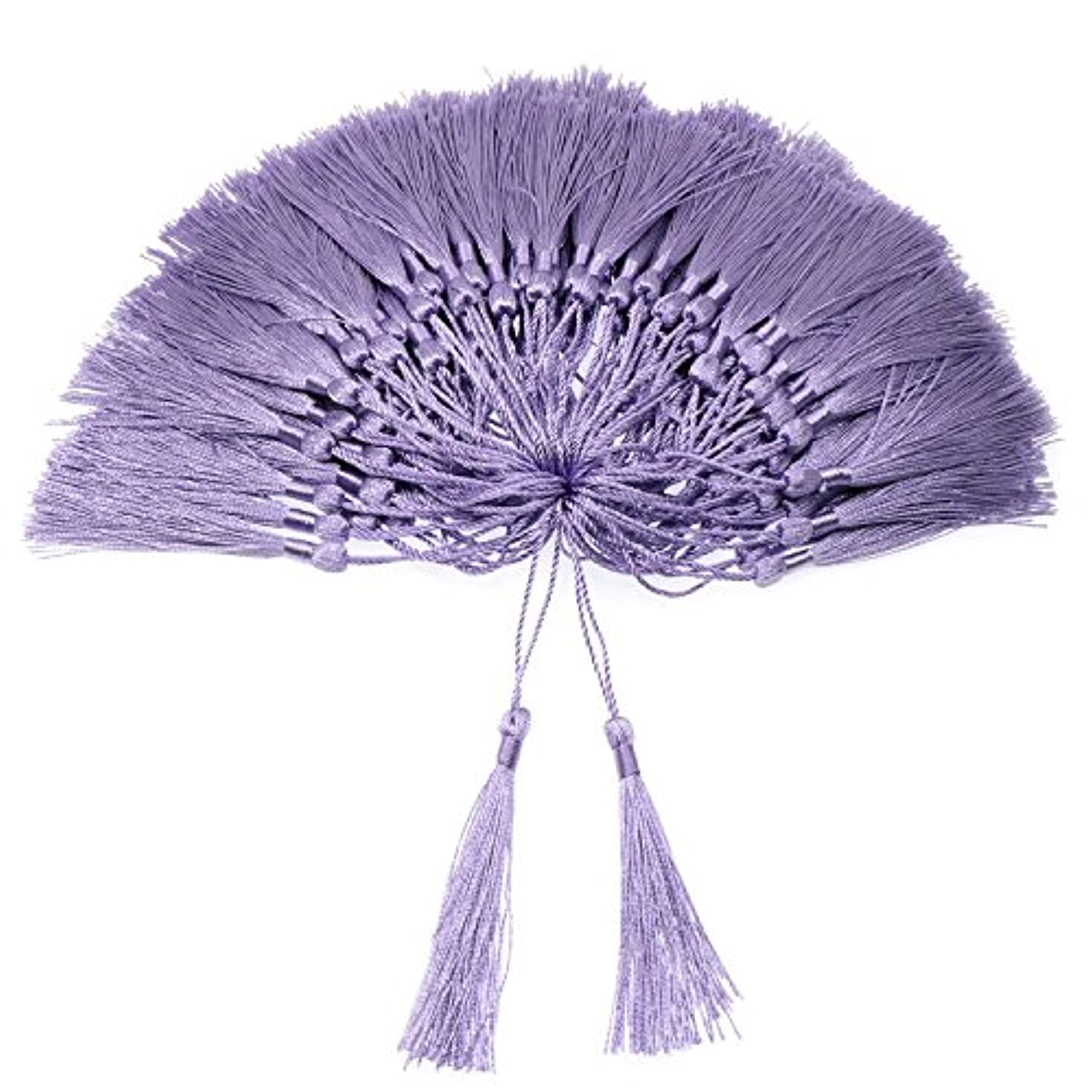 VAPKER 100 Pieces Purple Tassels 13cm/5-Inch Silky Handmade Soft Tassels Floss Bookmark Tassels with 2-inch Cord Loop for Jewelry Making, DIY Projects, Bookmarks