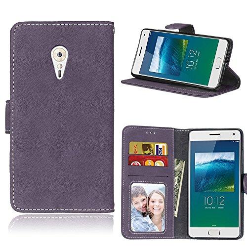 Handy Kasten für Lenovo ZUK Z2 Pro,Bookstyle 3 Card Slot PU Leder Hülle Interner Schutz Schutzhülle Handy Taschen(Violett)