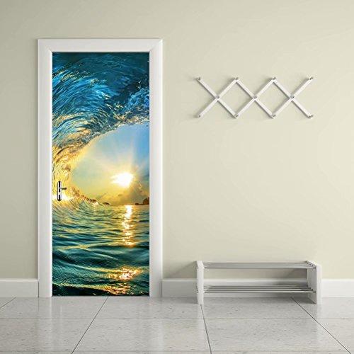 Tifege 3D Door Sticker Wall Decals Mural Wallpaper Sea Ocean Waves Sunset DIY Art Home Decor Decoration 30.3x78.7 DM039