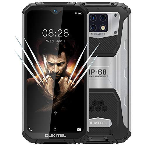 OUKITEL WP6 (2020), IP68 Outdoor Smartphone Ohne Vertrag, 10000 mAh Akku (18 W Schnellladung), 48 MP Quad-Kamera, Helio P70 6 GB + 128 GB, 6,3 Zoll FHD + Robustes Handy, DUAL SIM GPS WiFi Schwarz