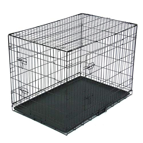 N-B Pet Cage 42-Inch Pet Cage Cat Foldable Steel Box Animal Fence Metal Ribbon Double Door Tray Portable and Durable