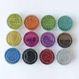 purpurina brillante polvo de brillantina polvo Glitter para purpurina Tattoo 's Set 12Colores
