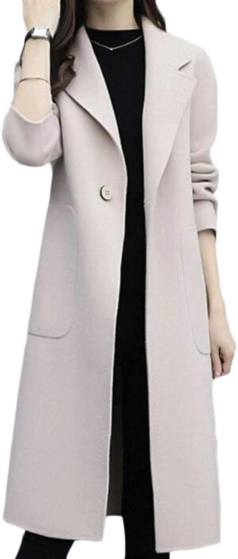 XiaoTianXinWomen XTX Women's Elegant Fleece One Buttons Pockets Lapel Neck Midi Windbreaker Woolen Blend Coat