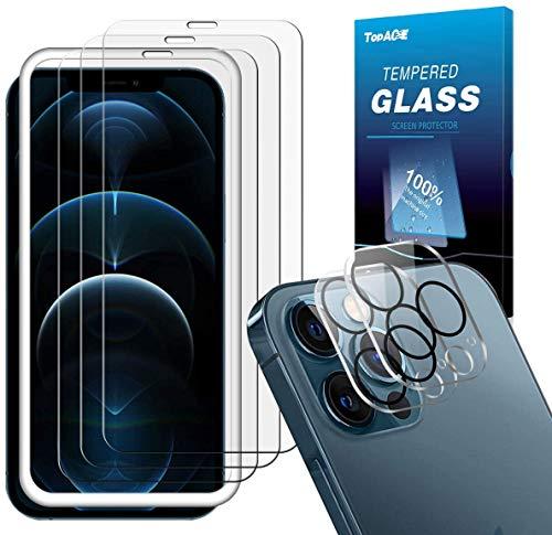 TOPACE Vetro Temperato compatibile con iPhone 12 Pro Max (3) + vetro temperato per fotocamera (2), display e fotocamera, durezza 9H, HD trasparente, senza bolle, per 12 Pro Max