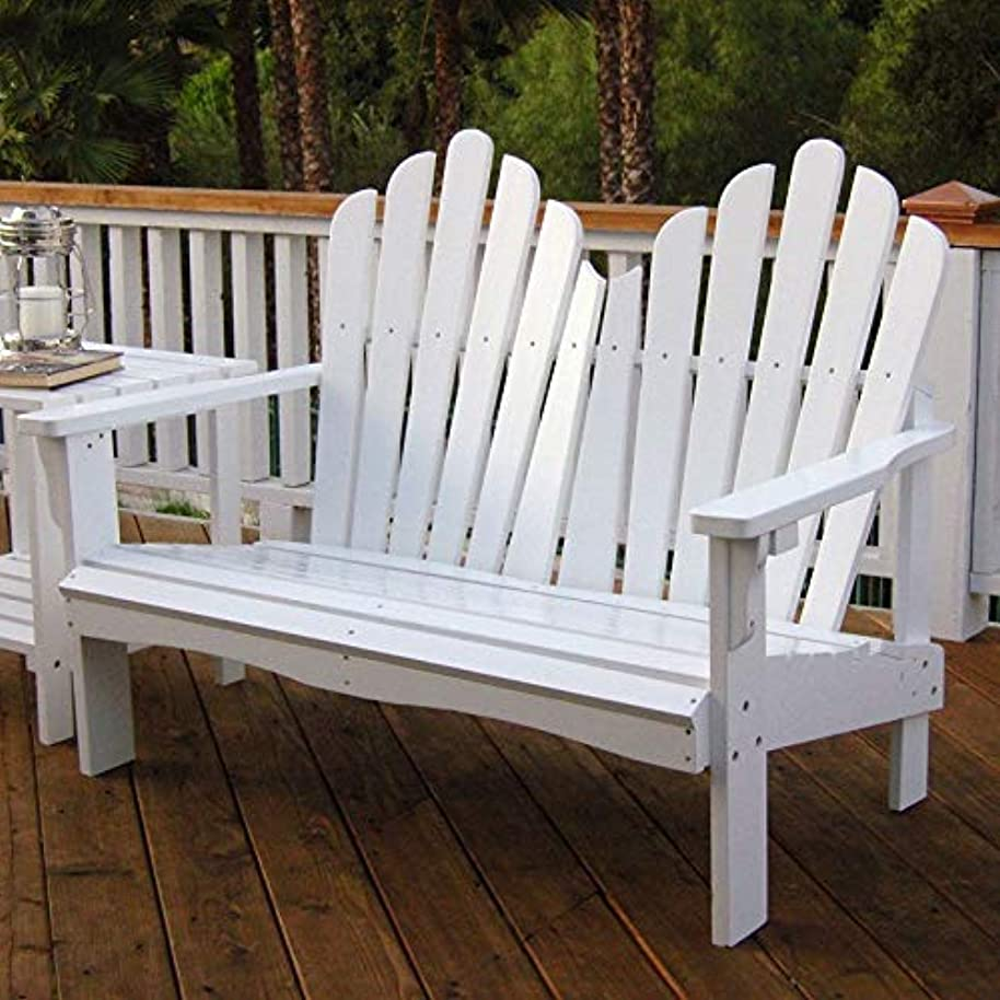 Swag Pads Outdoor Garden Bench Loveseat in White Wood Finish