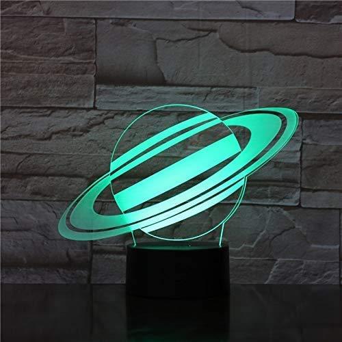 Preisvergleich Produktbild 3D Illusion Nachtlicht,  3D LED Nachtlicht Jupiter Lampe Erde Neonlampe Farbwechsel Touch USB LED Nacht Schreibtisch Büro Luminaria Dekor Kreatives Geschenk