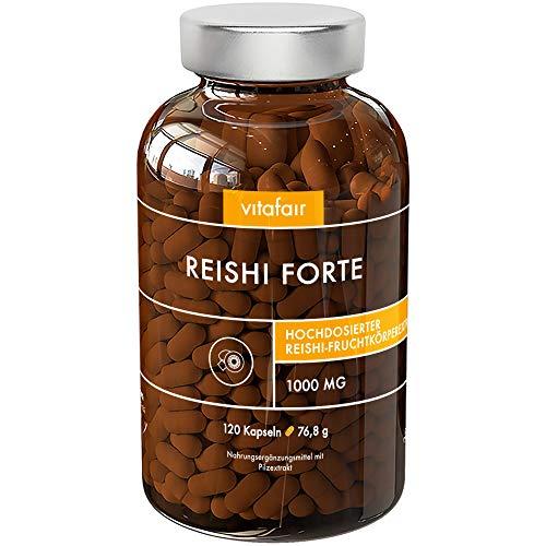 Reishi Forte - 1040mg pro Tagesdosis - 120 Kapseln - 40{341ed094d06473b294feab42603bb83bdf3ebb317ee6d702a62f3d8225f91ecc} bioaktive Polysaccharide - Hochdosierter Ganoderma Lucidum - Pilz - Extrakt - Vegan - Ohne Magnesiumstearat - Made in Germany