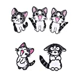 SOUTHYU 5 Pieces Cute Cats Iron On/Sew On Patches Decorative Motif Appliques Embroidered Animal Repairing Badge for DIY Clothing Jeans Jacket Backpack Hat T-Shirts Hat