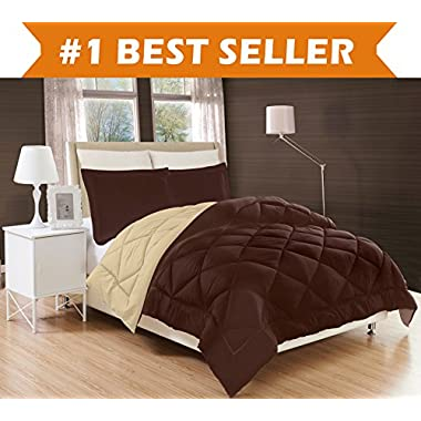Elegant Comfort All Season Comforter and Year Round Medium Weight Super Soft Down Alternative Reversible 3-Piece Comforter Set, Full/Queen, Chocolate Brown/Cream
