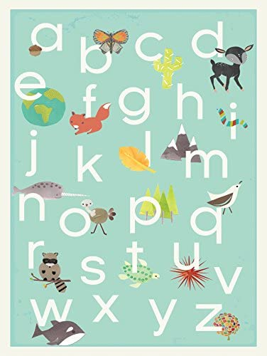 English Alphabet Children s Wall Art Print 11x14 Nature Themed Our World in Blue Nursery Decor product image