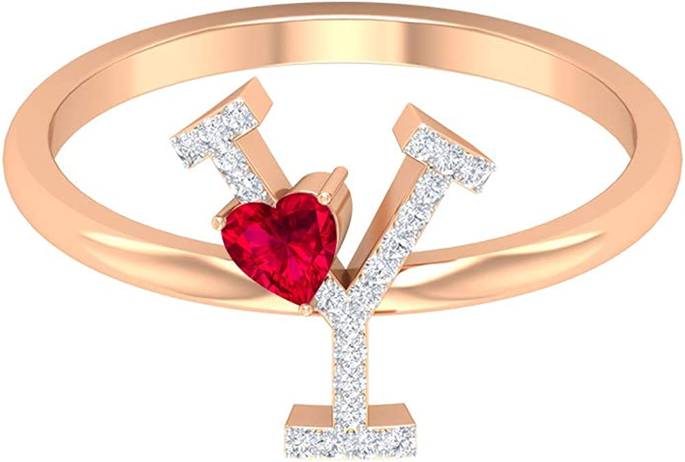Ruby and Diamond Ring 0.38 CT, Letter Y Ring, Gold Alphabet Jewelry (3.5 MM Heart Shaped Ruby), 14K Rose Gold, Size:US 5.0