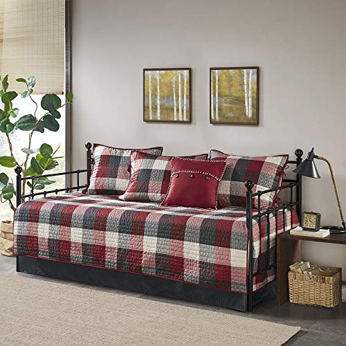 Madison Park Daybed Cover Double Sided Quilting Casual Design All Season Bedding Set with Bedskirt, Matching Shams, Decorative Pillow, 75'x39', Ridge, Plaid Red