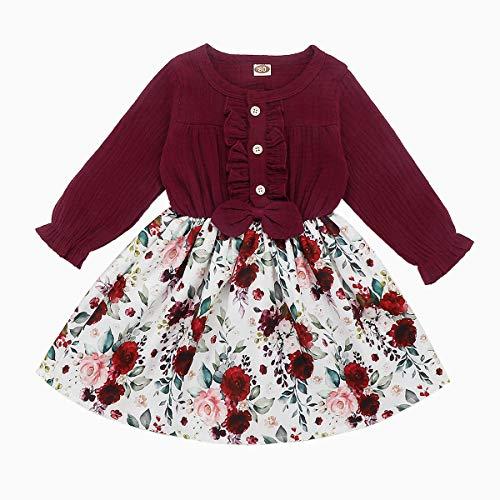 DaMohony Langarm-Kleid für Baby / Mädchen, Rockmuster: Floral, Party-Prinzessin-Kleider Gr. 80 cm(6-12 Monate), weinrot
