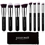 Essencell Makeup Brushes Premium Synthetic Kabuki Cosmetic Makeup Brush Set - Foundation,Powder, Blending Blush Bronzer, Concealer Contour, Eye Shadow Brush Kit (8PCs, Black Sliver) …